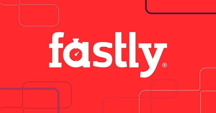 The Fastly logo against a red background