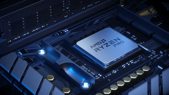 AMD Ryzen Pro chip embedded in circuitry.