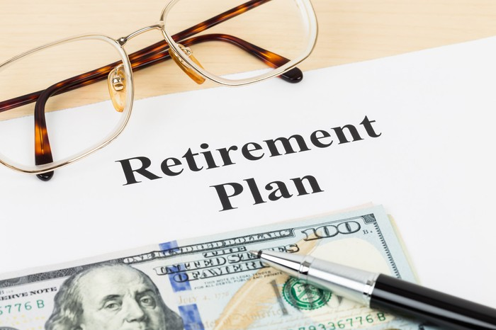 """A pair of reading glasses on a paper with the title """"Retirement Plan."""""""