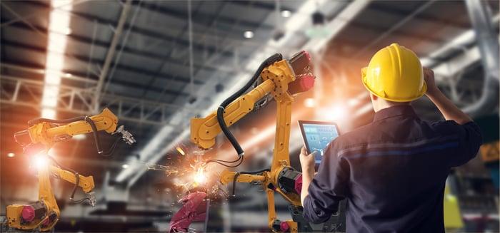 Robotics in a factory.