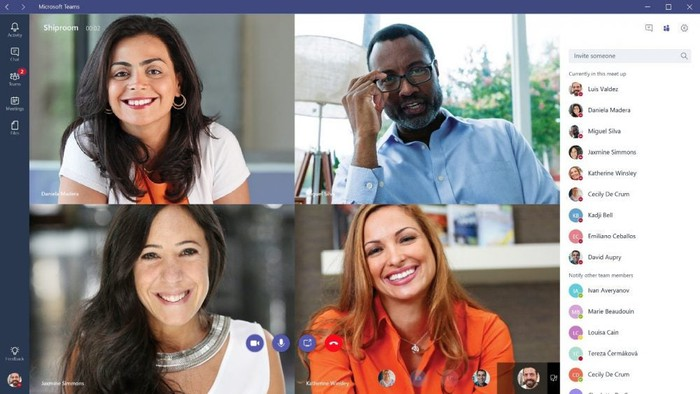Four people on a Microsoft Teams video call.