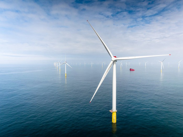 Wind turbines at Equinor's Dudgeon Offshore Wind Farm in the North Sea