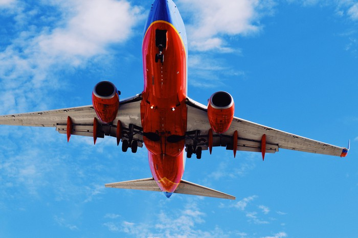 ground view of southwest airlines plane flying above
