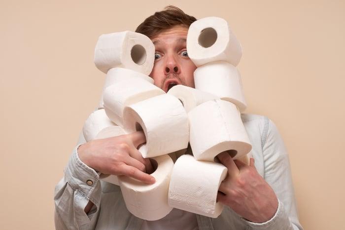 Man hoarding toilet paper