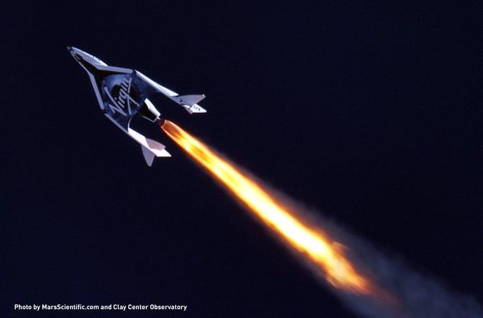 Virgin Galactic's VSS Unity blasting into space