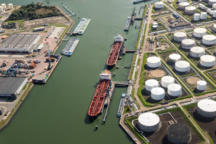 Oil tankers at a storage terminal.