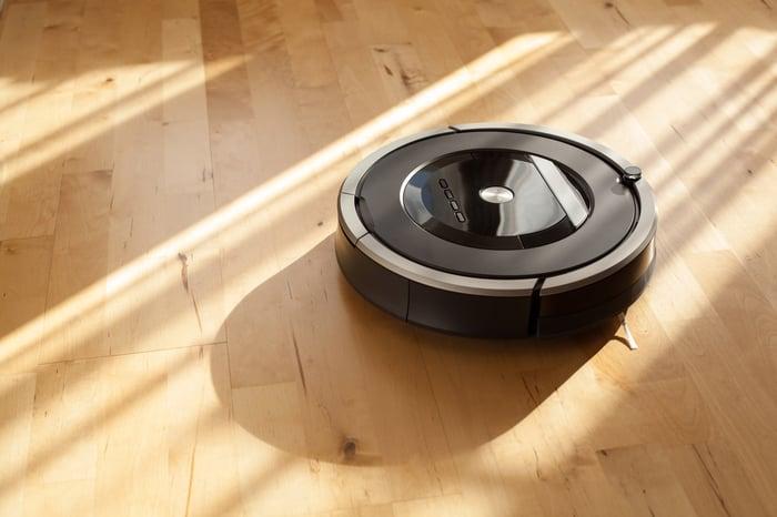 A robot vacuum cleaner.
