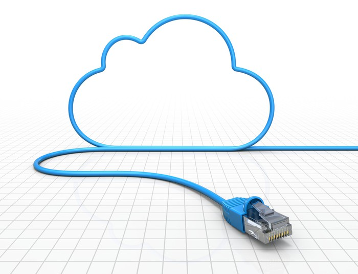 A blue Ethernet cable forming a cartoon-style cloud against a mostly white background.