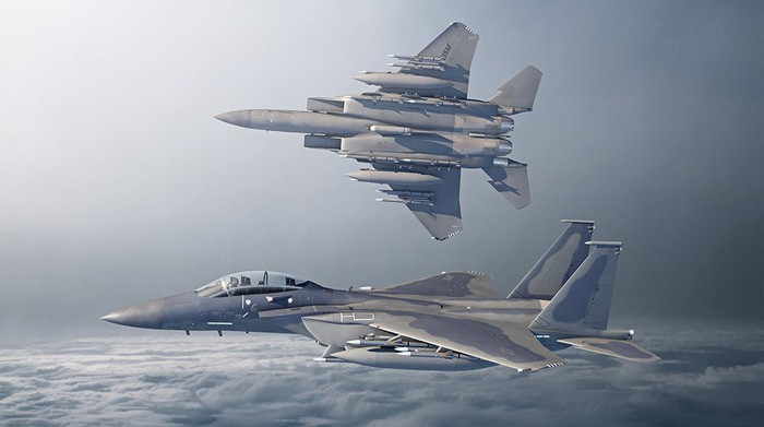 Artist's depiction of two fully loaded F-15EXes in flight