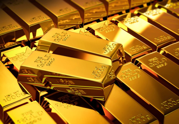 Rows of gold bars.
