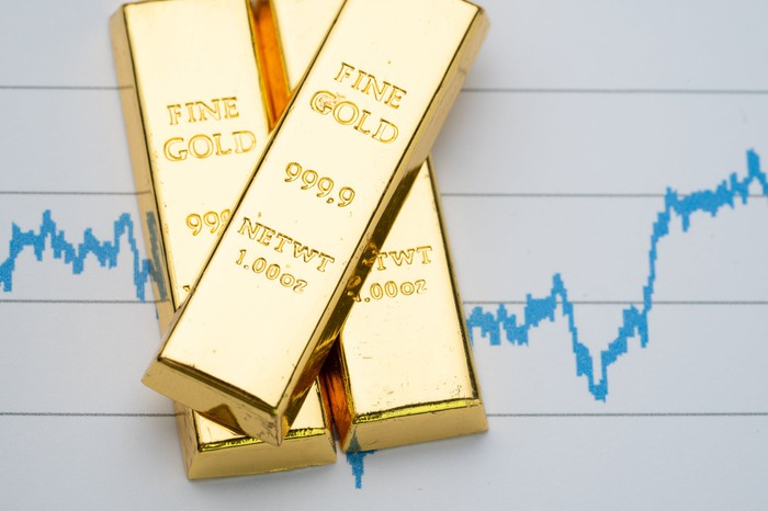 Gold bars with stock chart in the background