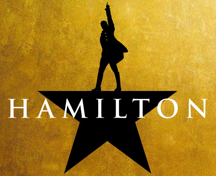 Hamilton logo - the silhouette of a man standing atop a star behind the word Hamilton.