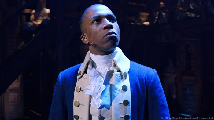 A still of the live Broadway recording ofHamilton, with Leslie Odom Jr. as Aaron Burr.