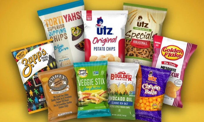 A display of Utz's various chip brands.