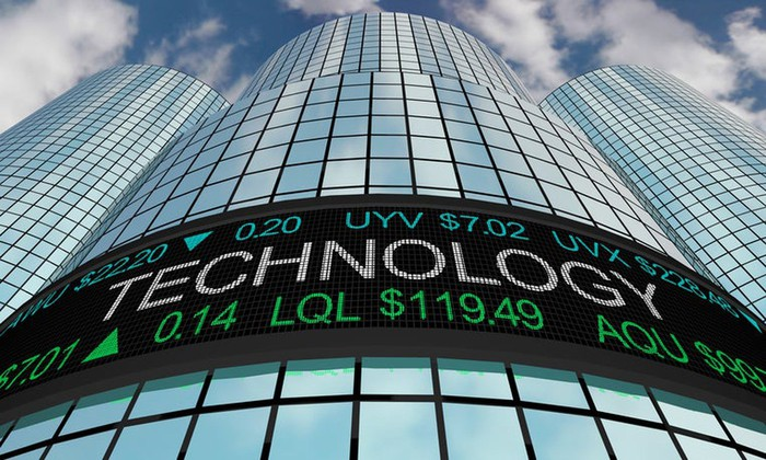 View from ground of a tall glass-walled Wall Street building with a digital billboard on it saying technology and showing some stock ticker symbols.
