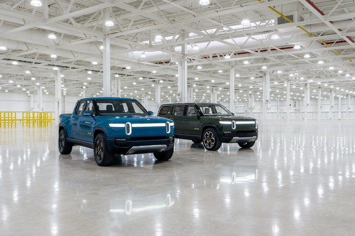 Rivian R1T pickup and R1S SUV on display