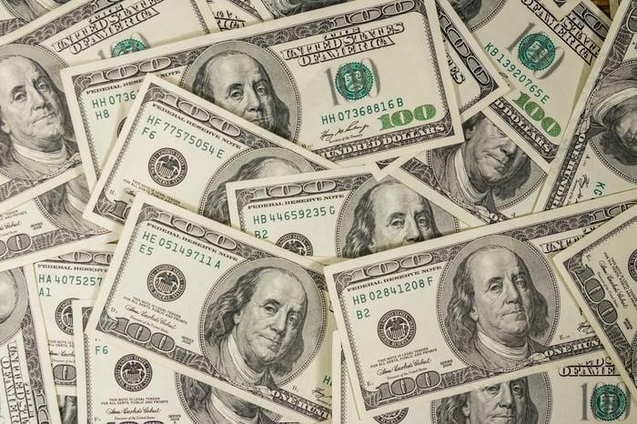A pile of hundred-dollar bills.
