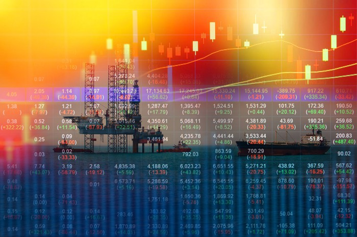 Stock market chart with oil rig in the background.