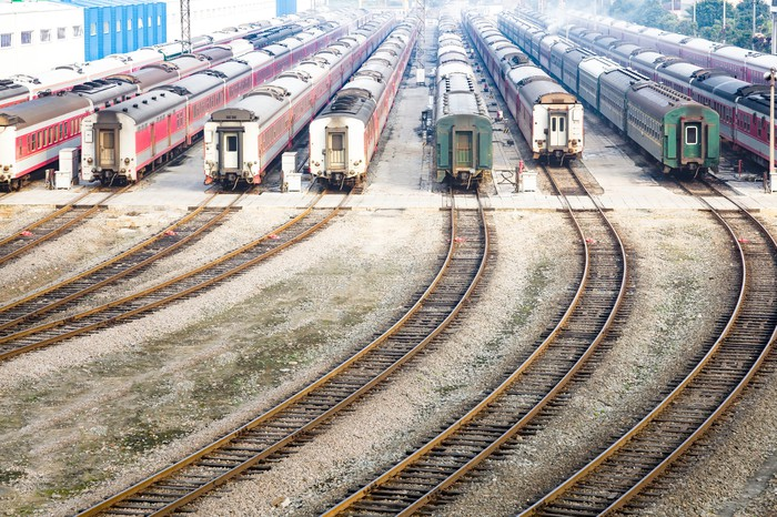 A railroad hub with trains on several tracks