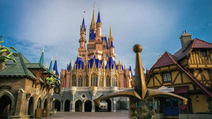 The iconic Cinderella's castle at a Walt Disney World theme park.