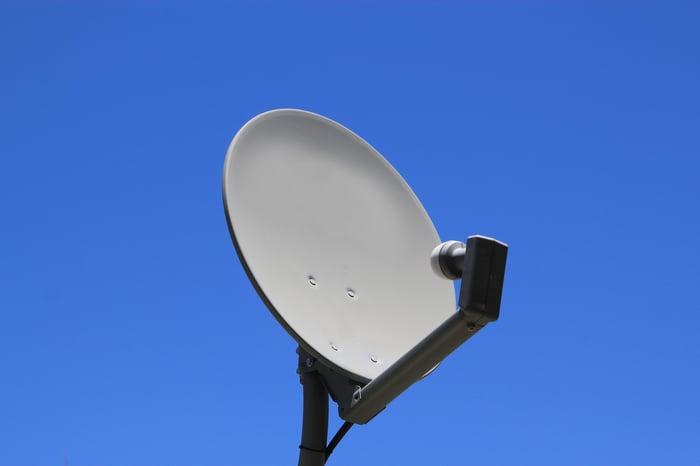 A satellite TV dish.