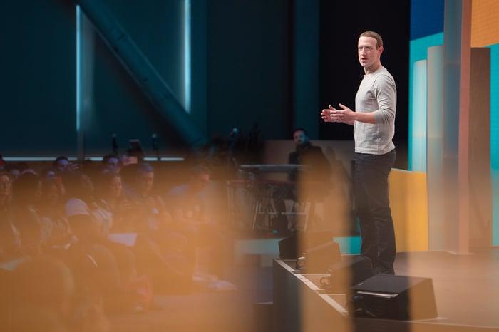 Facebook CEO Mark Zuckerberg delivering a presentation.