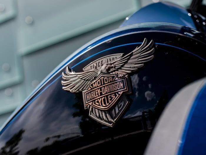 Harley-Davidson logo on gas tank