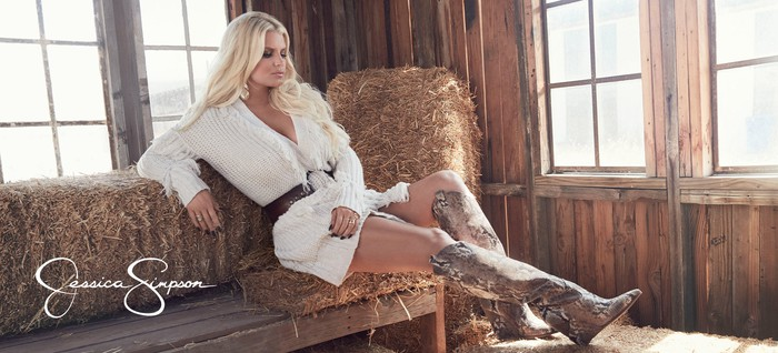 Jessica Simpson wearing dress and boots