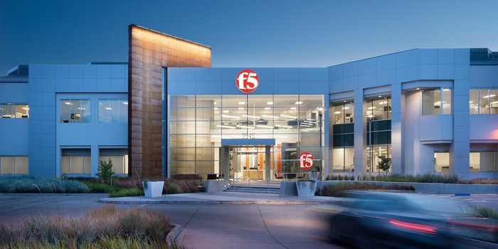 Exterior of F5 Networks office in San Jose at dusk