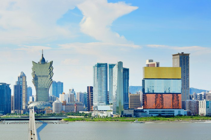 Macao's skyline on a partly cloudy day.