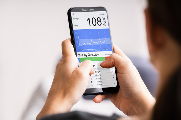 Person holding a smartphone displaying blood sugar information