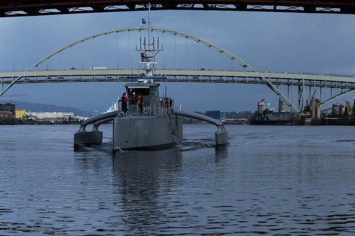 Sea Hunter robot warship at dusk