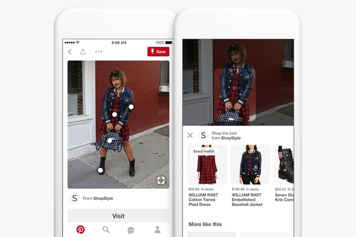 Two phone screens displaying shopping options on Pinterest.