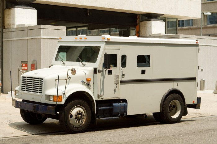 A parked armored truck