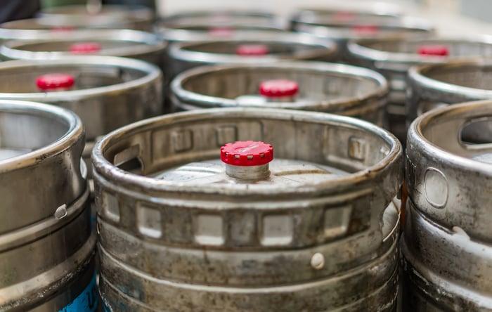 kegs of beer lined up
