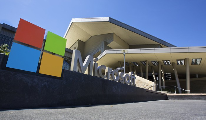 The entrance to a Microsoft building, with a sign that says Microsoft