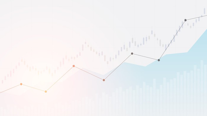 A line chart on a white and blue background.