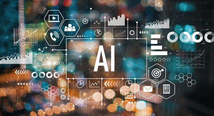 AI text is superimposed on symbols that represent technology.