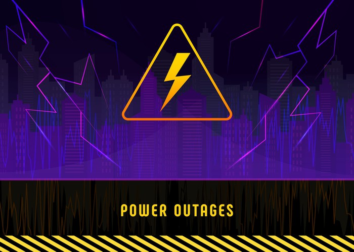 "Yellow lightning bolt on purple background with ""Power Outages"" written underneath in yellow."