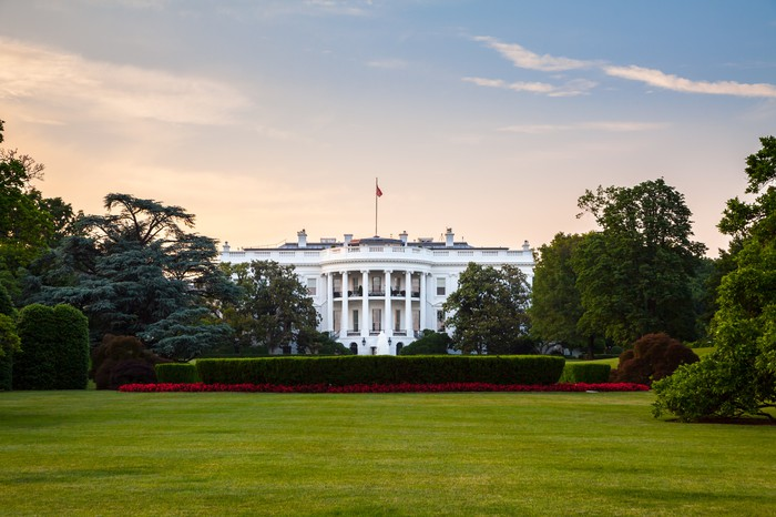 The White House from the front lawn.