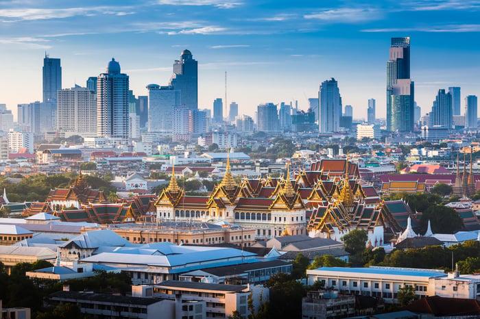 Bangkok Thailand skyline.