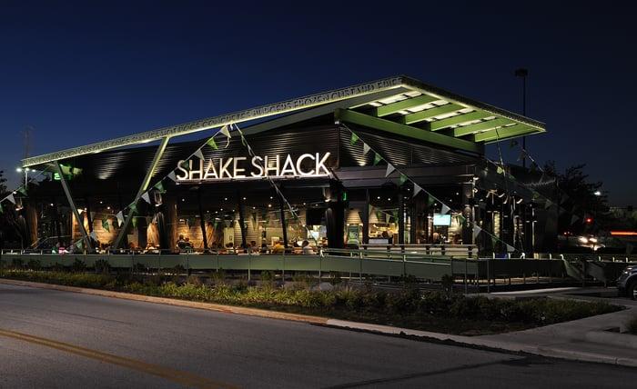 Exterior of a Shake Shack restaurant.