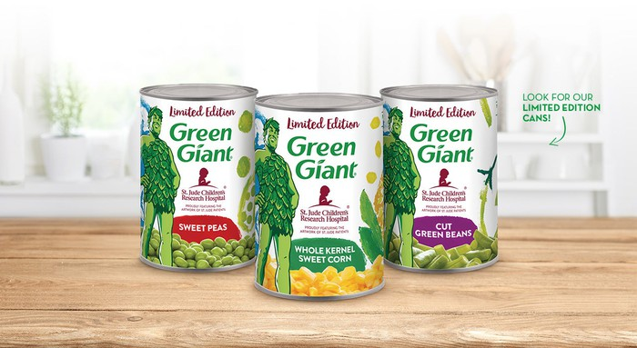 Three cans of Green Giant vegetables