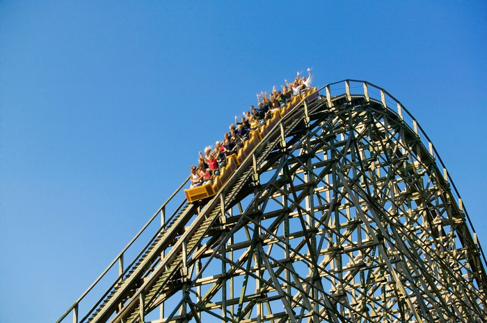A roller coaster in action.