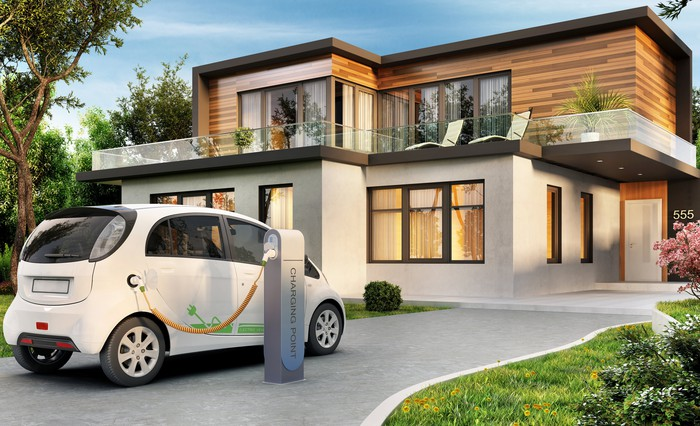 Electric vehicle at a charging station in the driveway of a modern house.