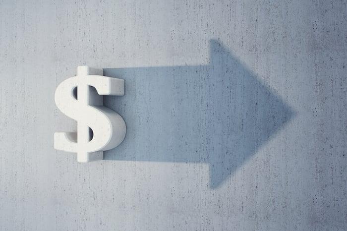 A dollar sign with an arrow pointing forward.