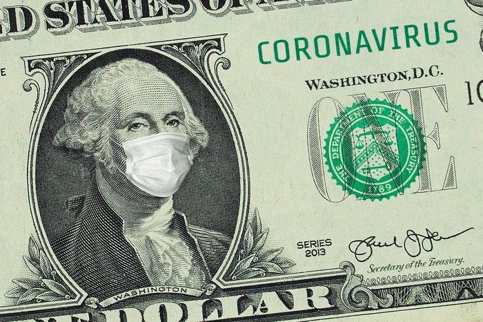 Close up of dollar bill with George Washington wearing a mask.