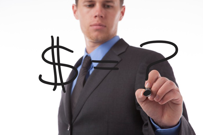 Businessman writing dollar sign equals question mark with a black marker