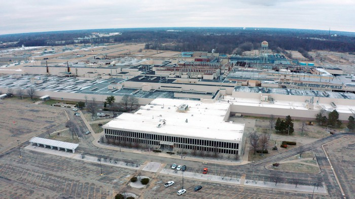 The former GM plant in Lordstown, Ohio, seen from the sky.
