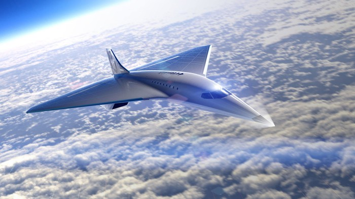 Artist's rendering of the new Mach 3 aircraft flying at high altitude
